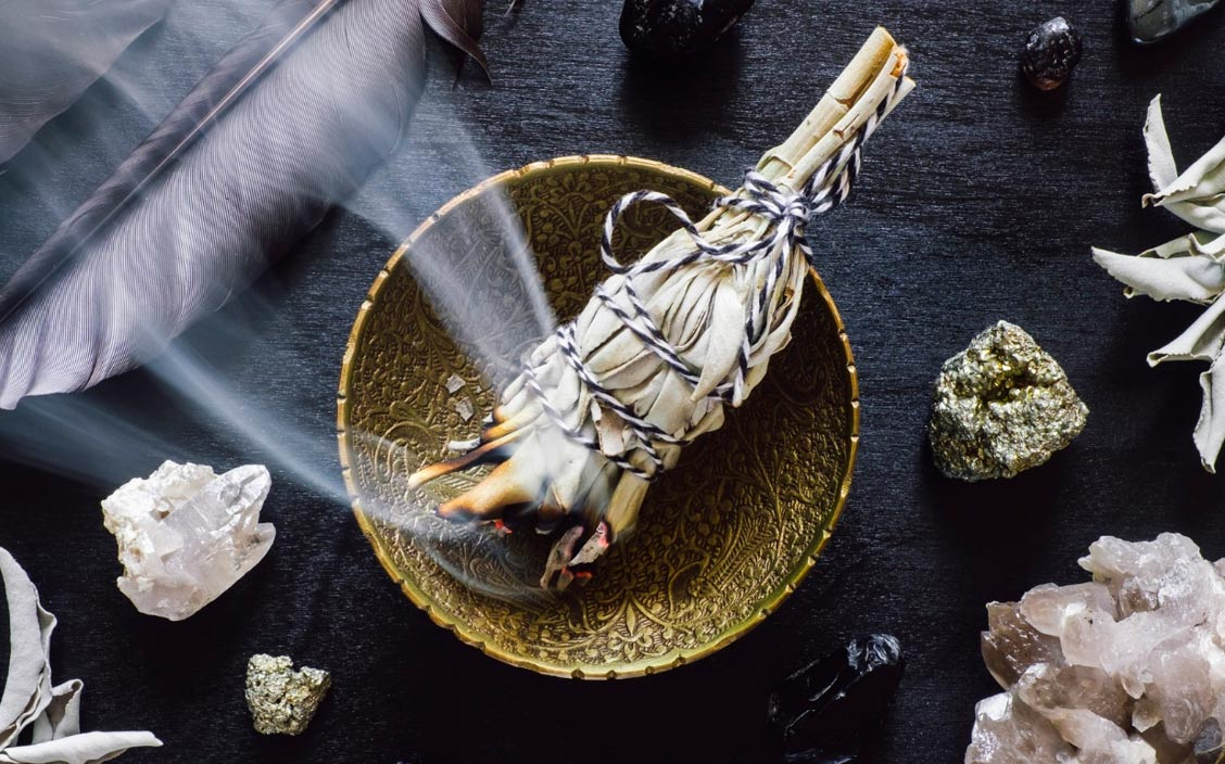 Smudging-with-white-sage